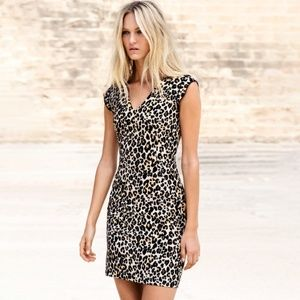 H&M Animal Print Bodycon Sheath Mini V Neck Dress